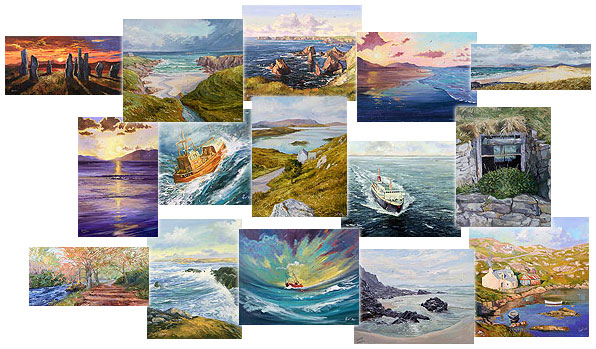collage of paintings by Ivor MacKay